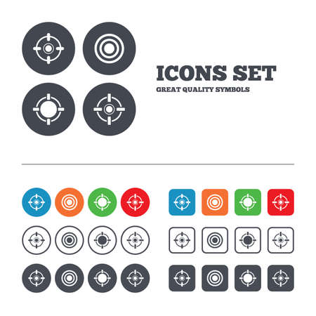sights: Crosshair icons. Target aim signs symbols. Weapon gun sights for shooting range. Web buttons set. Circles and squares templates. Vector
