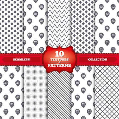 50 60: Patrones y texturas repetibles. Iconos de la venta de etiquetas puntero. Descuento s�mbolos oferta especial. 50%, 60%, 70% y el 80% por ciento de signos de venta. Puntos grises, c�rculos, l�neas sobre fondo blanco. Vector Vectores