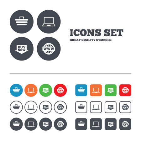 ultrabook: Online shopping icons. Notebook pc, shopping cart, buy now arrow and internet signs. WWW globe symbol. Web buttons set. Circles and squares templates. Vector