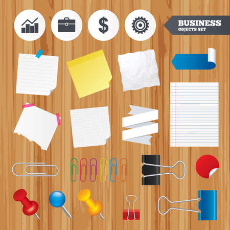 paper case: Paper sheets. Office business stickers, pin, clip. Business icons. Graph chart and case signs. Dollar currency and gear cogwheel symbols. Squared, lined pages. Vector Illustration