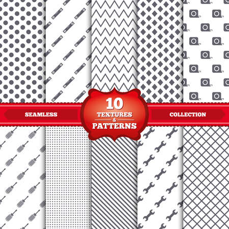 bubble level: Repeatable patterns and textures. Screwdriver and wrench key tool icons. Bubble level and tape measure roulette sign symbols. Gray dots, circles, lines on white background. Vector