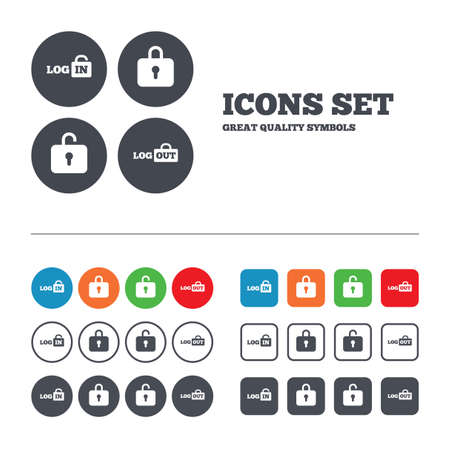 sign out: Login and Logout icons. Sign in or Sign out symbols. Lock icon. Web buttons set. Circles and squares templates. Vector