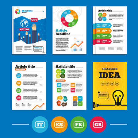 gb: Brochure or flyers design. Language icons. IT, ES, FR and GB translation symbols. Italy, Spain, France and England languages. Business poll results infographics. Vector