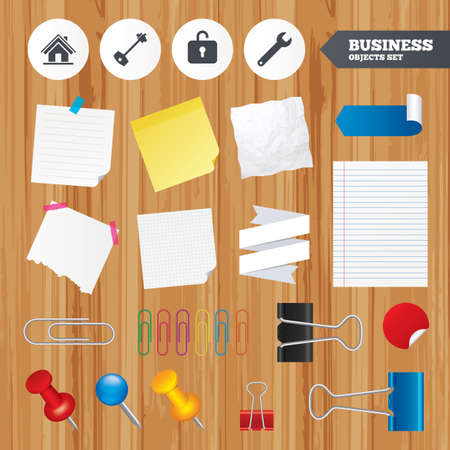 Paper sheets. Office business stickers, pin, clip. Home key icon. Wrench service tool symbol. Locker sign. Main page web navigation. Squared, lined pages. Vector Vector