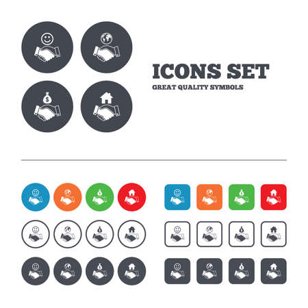 amicable: Handshake icons. World, Smile happy face and house building symbol. Dollar cash money bag. Amicable agreement. Web buttons set. Circles and squares templates. Vector