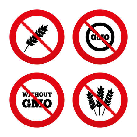 genetically modified crops: No, Ban or Stop signs. Agricultural icons. Gluten free or No gluten signs. Without Genetically modified food symbols. Prohibition forbidden red symbols. Vector Illustration