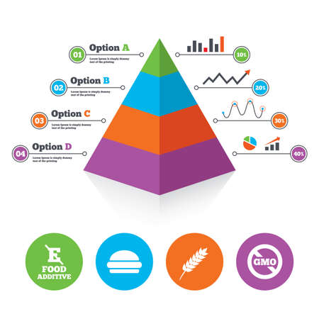 Pyramid chart template. Food additive icon. Hamburger fast food sign. Gluten free and No GMO symbols. Without E acid stabilizers. Infographic progress diagram. Vector