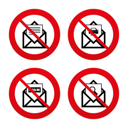 webmail: No, Ban or Stop signs. Mail envelope icons. Print message document symbol. Post office letter signs. Spam mails and search message icons. Prohibition forbidden red symbols. Vector Illustration
