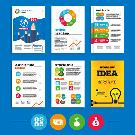 dollar signs: Brochure or flyers design. Currency exchange icon. Cash money bag and wallet with coins signs. Dollar, euro, pound, yen symbols. Business poll results infographics. Vector