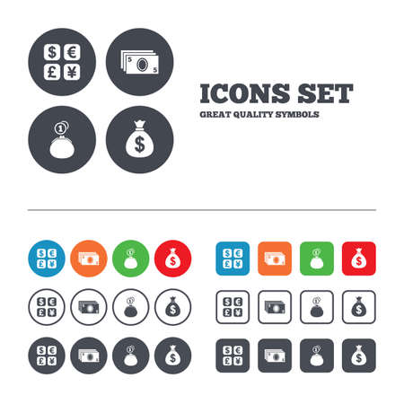 withdrawals: Currency exchange icon. Cash money bag and wallet with coins signs. Dollar, euro, pound, yen symbols. Web buttons set. Circles and squares templates. Vector
