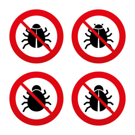 No, Ban or Stop signs. Bugs vaccination icons. Virus software error sign symbols. Prohibition forbidden red symbols. Vector
