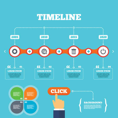 click with hand: Timeline with arrows and quotes. Globe magnifier glass and cogwheel gear icons. Recycle bin delete and power sign symbols. Four options steps. Click hand. Vector