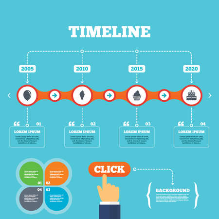 click with hand: Timeline with arrows and quotes. Birthday party icons. Cake with ice cream signs. Air balloon symbol. Four options steps. Click hand. Vector