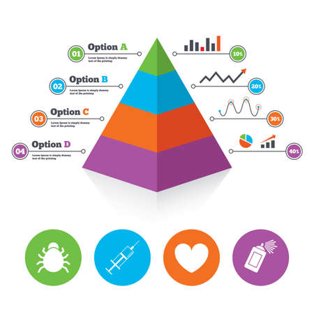 syringe inoculation: Pyramid chart template. Bug and vaccine syringe injection icons. Heart and spray can sign symbols. Infographic progress diagram. Vector
