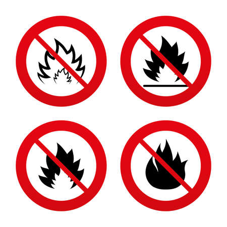 inflammable: No, Ban or Stop signs. Fire flame icons. Heat symbols. Inflammable signs. Prohibition forbidden red symbols. Vector Illustration