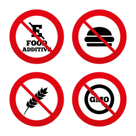 stabilizers: No, Ban or Stop signs. Food additive icon. Hamburger fast food sign. Gluten free and No GMO symbols. Without E acid stabilizers. Prohibition forbidden red symbols. Vector