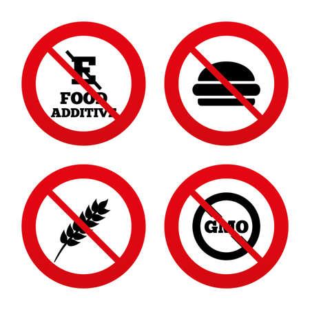 stabilizers: Signos No, Ban o detenerse. Icono de aditivo alimentario. Hamburguesa signo de comida r�pida. Gluten s�mbolos libres y Sin OGM. Sin estabilizadores de �cido E. Prohibici�n prohibido s�mbolos rojos. Vector Vectores