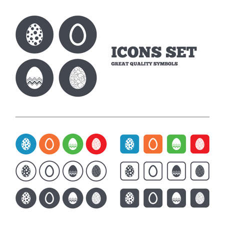 pasch: Easter eggs icons. Circles and floral patterns symbols. Tradition Pasch signs. Web buttons set. Circles and squares templates. Vector