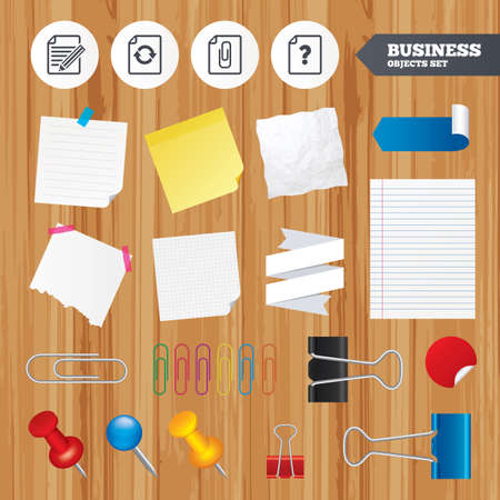 attach: Paper sheets. Office business stickers, pin, clip. File refresh icons. Question help and pencil edit symbols. Paper clip attach sign. Squared, lined pages. Vector Illustration