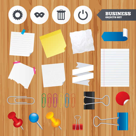 paper sheets: Paper sheets. Office business stickers, pin, clip. Anonymous mask and cogwheel gear icons. Recycle bin delete and power sign symbols. Squared, lined pages. Vector