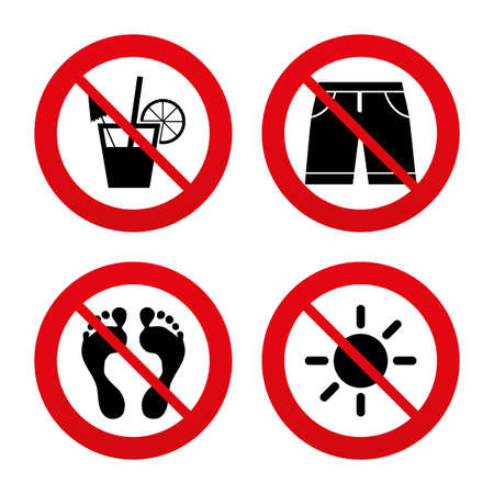 no swimming: No, Ban or Stop signs. Beach holidays icons. Cocktail, human footprints and swimming trunks signs. Summer sun symbol. Prohibition forbidden red symbols. Vector Illustration