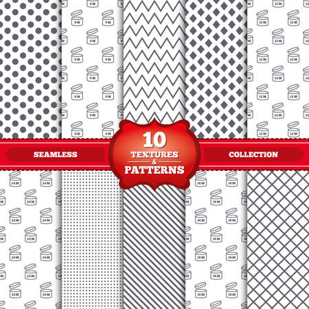 unfit: Repeatable patterns and textures. After opening use icons. Expiration date 9-36 months of product signs symbols. Shelf life of grocery item. Gray dots, circles, lines on white background. Vector Illustration