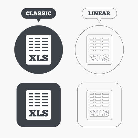 excel: Excel file document icon. Download xls button. XLS file symbol. Classic and line web buttons. Circles and squares. Vector
