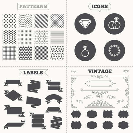 diamond rings: Seamless patterns. Sale tags labels. Rings icons. Jewelry with shine diamond signs. Wedding or engagement symbols. Vintage decoration. Vector Illustration