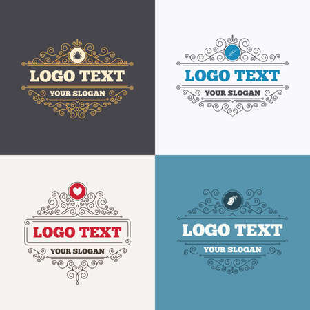 Flourishes calligraphic emblems. Bug and vaccine syringe injection icons. Heart and spray can sign symbols. Luxury ornament lines. Vector Illustration