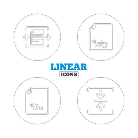 compression: Archive file icons. Compressed zipped document signs. Data compression symbols. Linear outline web icons. Vector Illustration