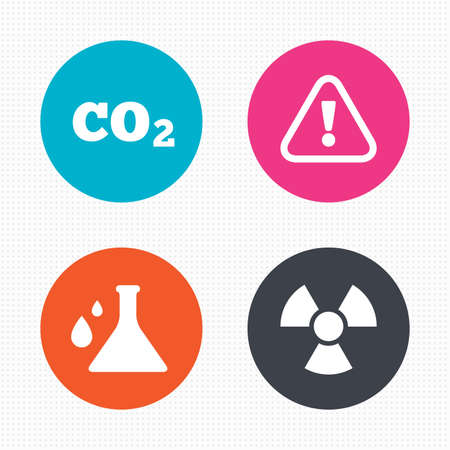 co2: Circle buttons. Attention and radiation icons. Chemistry flask sign. CO2 carbon dioxide symbol. Seamless squares texture. Vector Illustration