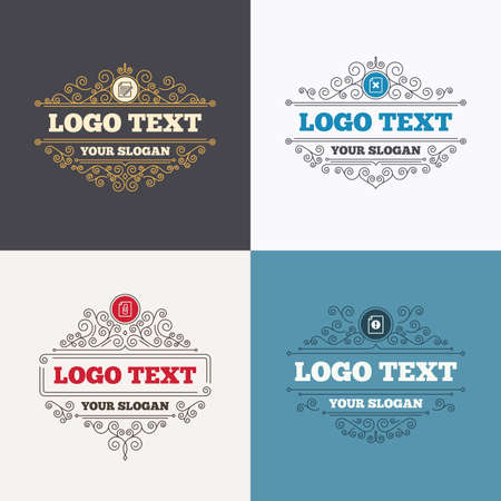 attach: Flourishes calligraphic emblems. File attention icons. Document delete and pencil edit symbols. Paper clip attach sign. Luxury ornament lines. Vector