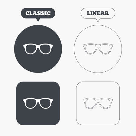 eyeglass frame: Retro glasses sign icon. Eyeglass frame symbol. Classic and line web buttons. Circles and squares. Vector Illustration