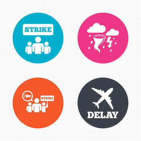 bad weather: Circle buttons. Strike icon. Storm bad weather and group of people signs. Delayed flight symbol. Seamless squares texture. Vector