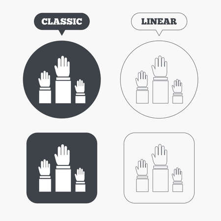 symbol people: Election or voting sign icon. Hands raised up symbol. People referendum. Classic and line web buttons. Circles and squares. Vector