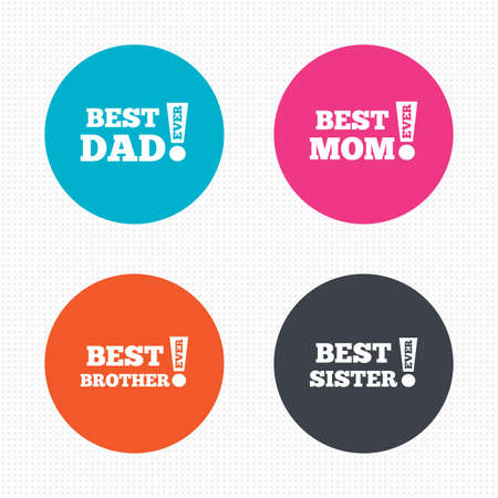 sister: Circle buttons. Best mom and dad, brother and sister icons. Award with exclamation symbols. Seamless squares texture. Vector