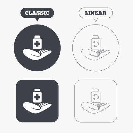 pills bottle: Medical insurance sign icon. Health insurance. Drugs or pills bottle. Classic and line web buttons. Circles and squares. Vector