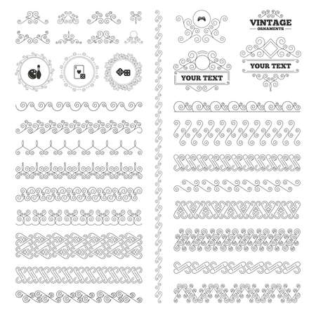 playing video game: Vintage ornaments. Flourishes calligraphic. Bowling and Casino icons. Video game joystick and playing card with dice symbols. Entertainment signs. Invitations elements. Vector
