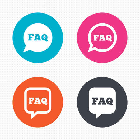 faq icon: Circle buttons. FAQ information icons. Help speech bubbles symbols. Circle and square talk signs. Seamless squares texture. Vector