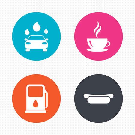 autolavaggio: Pulsanti di cerchio. Benzina o Gas station Servizi in icone. Automatizzati segni autolavaggio. Panino hotdog e simboli tazza di caffè caldo. Seamless piazze trama. Vettore