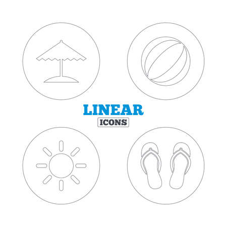 flipflops: Beach holidays icons. Ball, umbrella and flip-flops sandals signs. Summer sun symbol. Linear outline web icons. Vector Illustration