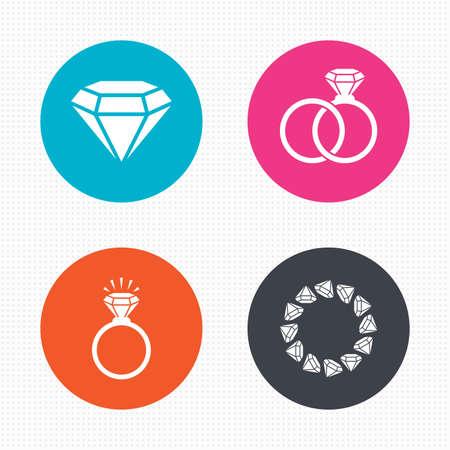 anillo de compromiso: Botones de círculo. Anillos iconos. Joyería con signos de diamantes brillo. Boda o compromiso símbolos. Perfecta textura cuadrados. Vector Vectores