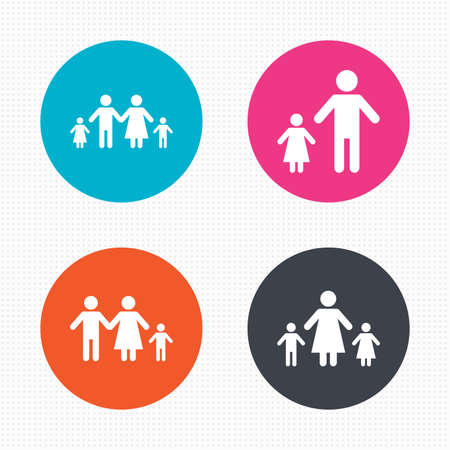 원형 단추입니다. 두 아이 함께 가족 아이콘입니다. 부모와 아이 심볼. 한 부모가 간판. 어머니와 아버지의 이혼. 원활한 사각형 질감입니다. 벡터 일러스트