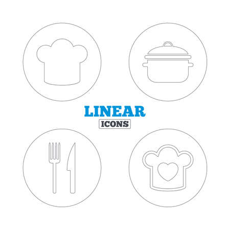 stew pan: Chief hat and cooking pan icons. Fork and knife signs. Boil or stew food symbols. Linear outline web icons. Vector Illustration