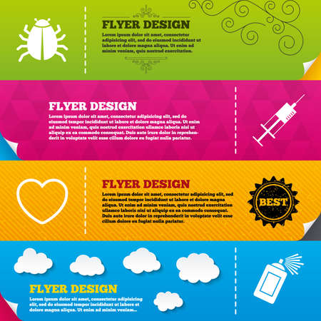 syringe injection: Flyer brochure designs. Bug and vaccine syringe injection icons. Heart and spray can sign symbols. Frame design templates. Vector