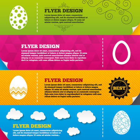 pasch: Flyer brochure designs. Easter eggs icons. Circles and floral patterns symbols. Tradition Pasch signs. Frame design templates. Vector