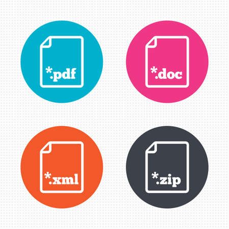extensions: Circle buttons. Download document icons. File extensions symbols. PDF, ZIP zipped, XML and DOC signs. Seamless squares texture. Vector