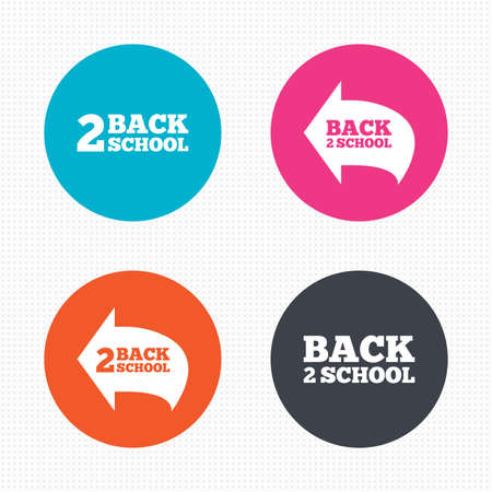vector studies: Circle buttons. Back to school icons. Studies after the holidays signs symbols. Seamless squares texture. Vector