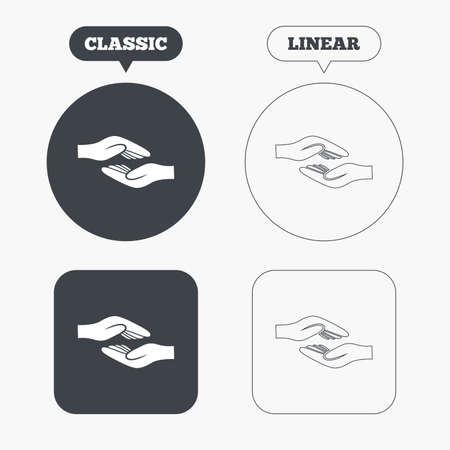 Helping hands sign icon. Charity or endowment symbol. Human palm. Classic and line web buttons. Circles and squares. Vector Vector