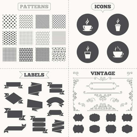 takeout: Seamless patterns. Sale tags labels. Coffee cup icon. Hot drinks glasses symbols. Take away or take-out tea beverage signs. Vintage decoration. Vector
